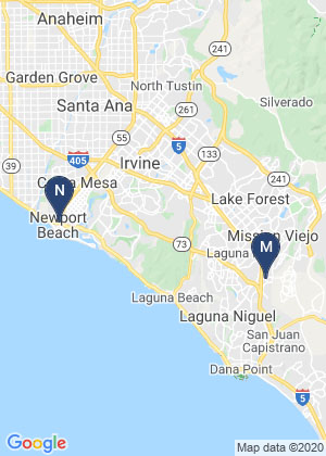 Map of Southern California with pins in Mission Viejo and Newport Beach